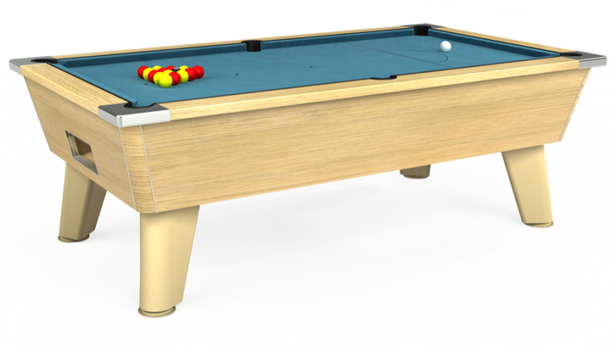 Omega Free Play Pool Table in light oak with powder blue cloth