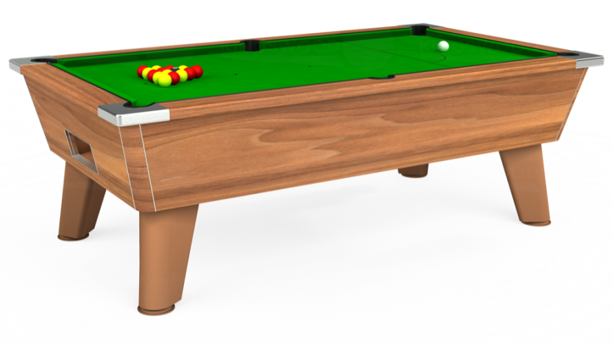 Omega Free Play Pool Table in light walnut with green cloth