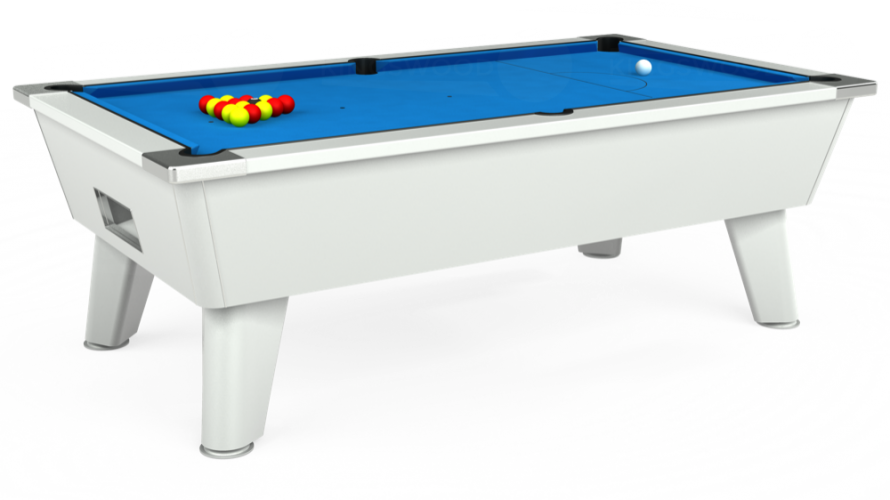 Omega Free Play Pool Table in white with electric blue cloth