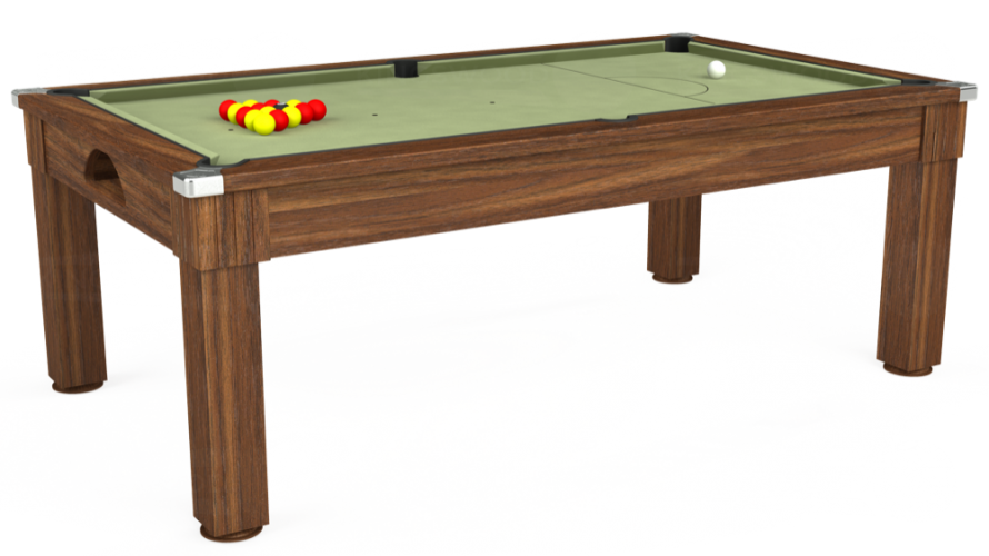 Windsor Pool Dining Table in dark walnut with sage cloth
