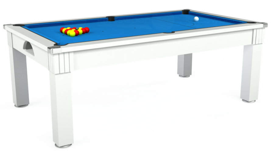 Windsor Pool Dining Table in white with electric blue cloth