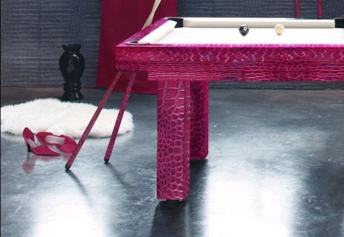 Detail of the 7ft Penelope pool dining table in pink crocodile effect leather