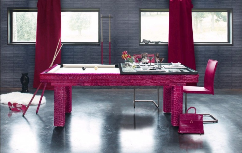 7ft Penelope pool dining table in pink crocodile effect leather