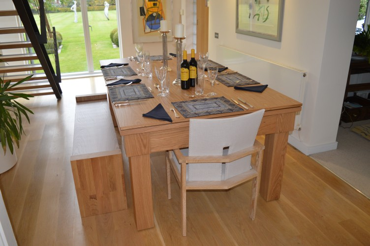 Kingswood oak pool dining table laid for dinner