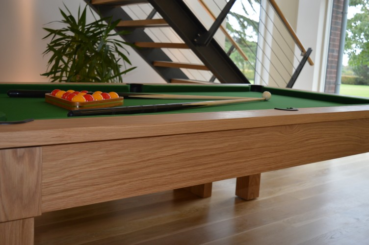 Kingswood oak pool dining table side view