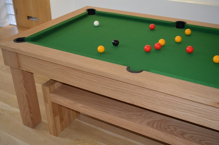 Kingswood oak pool dining table top down view