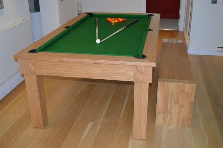 Kingswood oak pool dining table shown with bench