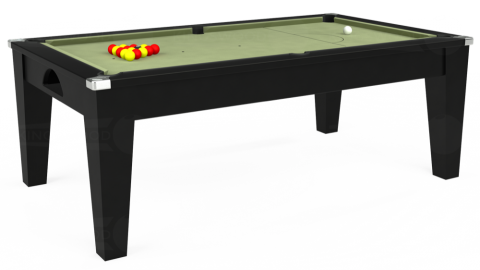 Avant Guarde pool dining table in black finish with Hainsworth smart sage cloth
