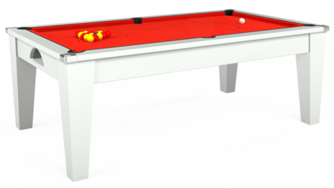 Avant Garde pool dining table in white with Hainsworth Smart Orange cloth