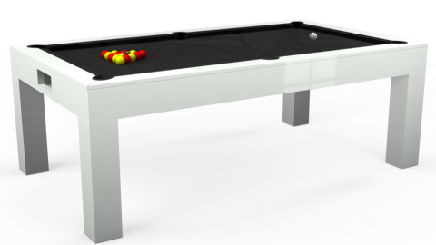 Kingswood Aspen pool dining table in white with black cloth