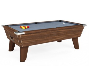 Omega free play pool table in dark walnut with banker's grey cloth