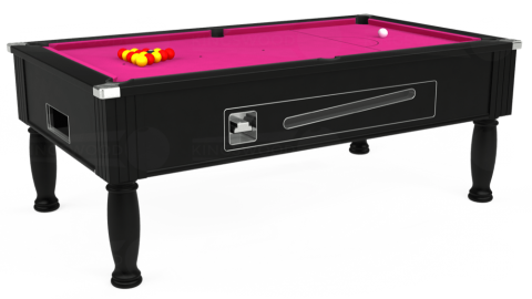 7ft Ascot Coin Operated in Black with Hainsworth Elite-Pro Fuchsia cloth
