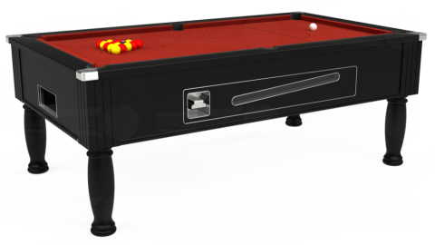 7ft Ascot Coin Operated in Black with Hainsworth Elite-Pro Red cloth