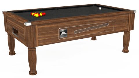 7ft Ascot Coin Operated in Dark Walnut with Standard Black cloth