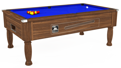 7ft Ascot Coin Operated in Dark Walnut with Standard Blue cloth