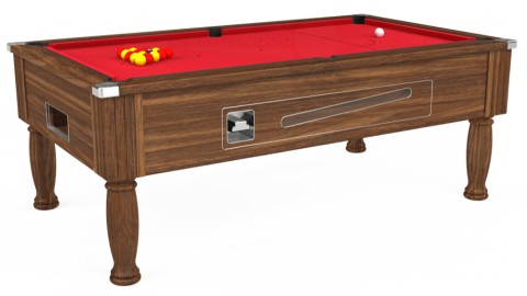 7ft Ascot Coin Operated in Dark Walnut with Standard Red cloth