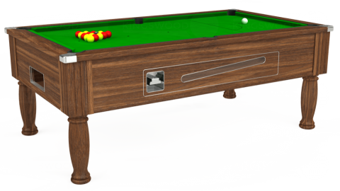 6ft Ascot Coin Operated in Dark Walnut with Standard Green cloth