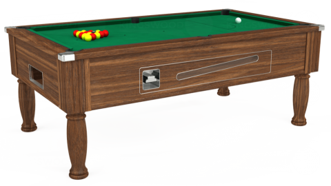 7ft Ascot Coin Operated in Dark Walnut with Hainsworth Elite-Pro American Green cloth