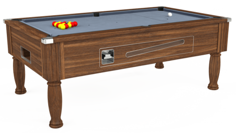 6ft Ascot Coin Operated in Dark Walnut with Hainsworth Elite-Pro Bankers Grey cloth