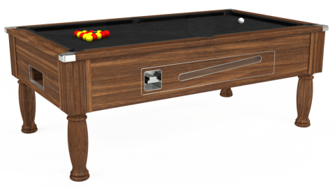 6ft Ascot Coin Operated in Dark Walnut with Hainsworth Elite-Pro Black cloth