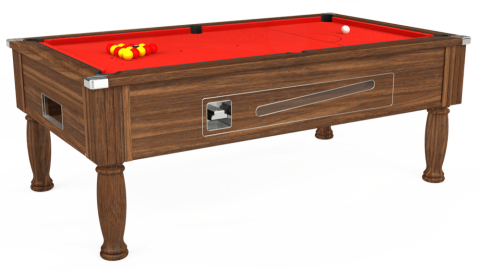 7ft Ascot Coin Operated in Dark Walnut with Hainsworth Elite-Pro Bright Red cloth