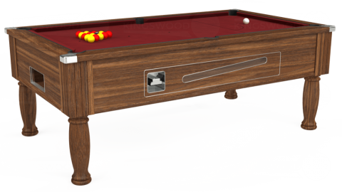 7ft Ascot Coin Operated in Dark Walnut with Hainsworth Elite-Pro Burgundy cloth