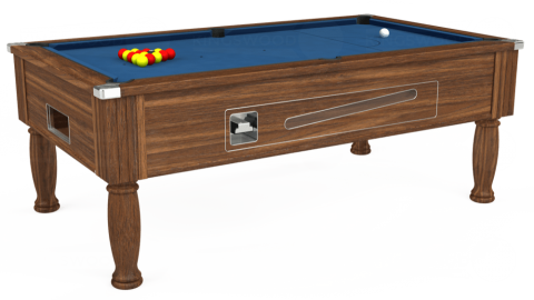7ft Ascot Coin Operated in Dark Walnut with Hainsworth Elite-Pro Cadet Blue cloth