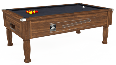 7ft Ascot Coin Operated in Dark Walnut with Hainsworth Elite-Pro Charcoal cloth