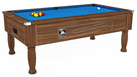 6ft Ascot Coin Operated in Dark Walnut with Hainsworth Elite-Pro Electric Blue cloth