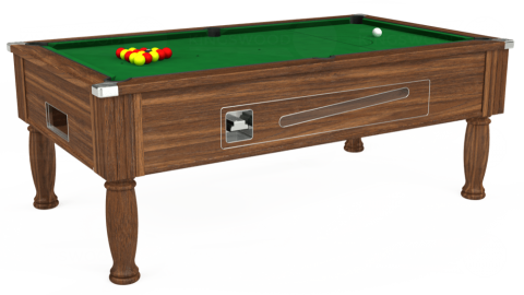 7ft Ascot Coin Operated in Dark Walnut with Hainsworth Elite-Pro English Green cloth