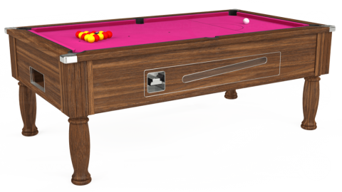 7ft Ascot Coin Operated in Dark Walnut with Hainsworth Elite-Pro Fuchsia cloth