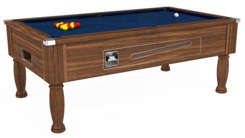 7ft Ascot Coin Operated in Dark Walnut with Hainsworth Elite-Pro Marine Blue cloth