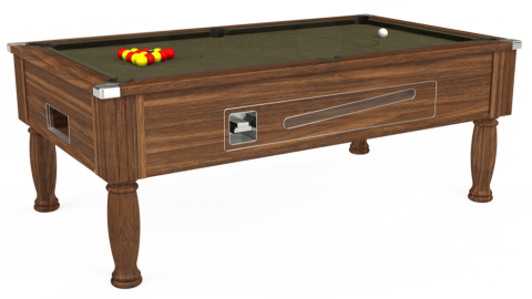6ft Ascot Coin Operated in Dark Walnut with Hainsworth Elite-Pro Olive cloth