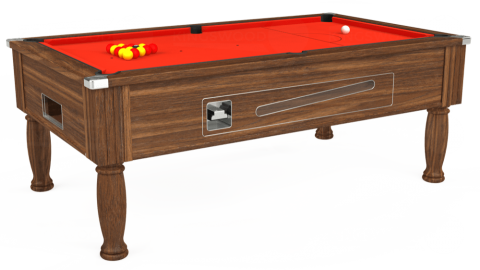 7ft Ascot Coin Operated in Dark Walnut with Hainsworth Elite-Pro Orange cloth