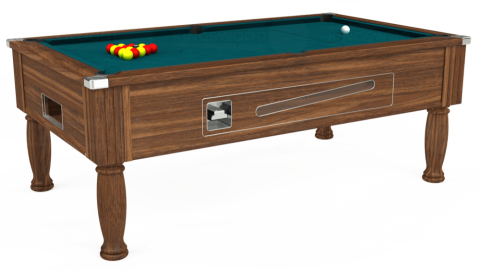7ft Ascot Coin Operated in Dark Walnut with Hainsworth Elite-Pro Petrol Blue cloth