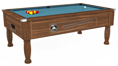 7ft Ascot Coin Operated in Dark Walnut with Hainsworth Elite-Pro Powder Blue cloth