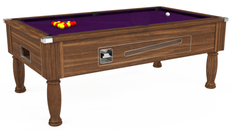 7ft Ascot Coin Operated in Dark Walnut with Hainsworth Elite-Pro Purple cloth