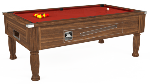 7ft Ascot Coin Operated in Dark Walnut with Hainsworth Elite-Pro Red cloth
