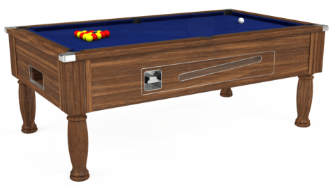 6ft Ascot Coin Operated in Dark Walnut with Hainsworth Elite-Pro Royal Blue cloth