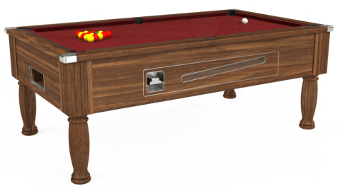 7ft Ascot Coin Operated in Dark Walnut with Hainsworth Smart Maroon cloth