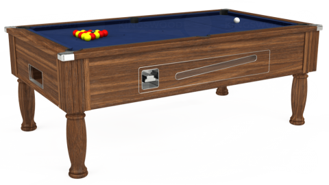 7ft Ascot Coin Operated in Dark Walnut with Hainsworth Smart Navy cloth