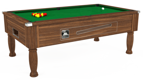 7ft Ascot Coin Operated in Dark Walnut with Hainsworth Smart Olive cloth