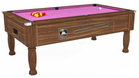 7ft Ascot Coin Operated in Dark Walnut with Hainsworth Smart Pink cloth