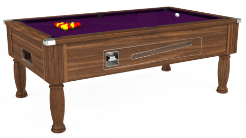 7ft Ascot Coin Operated in Dark Walnut with Hainsworth Smart Purple cloth