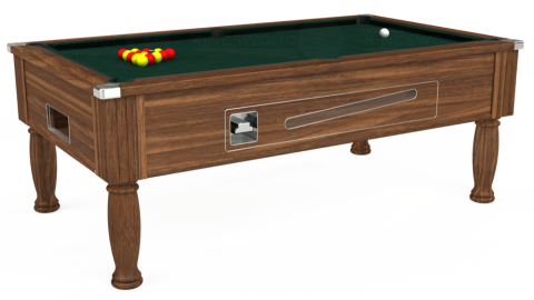7ft Ascot Coin Operated in Dark Walnut with Hainsworth Smart Ranger Green cloth