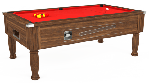 7ft Ascot Coin Operated in Dark Walnut with Hainsworth Smart Red cloth