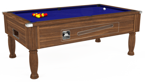 7ft Ascot Coin Operated in Dark Walnut with Hainsworth Smart Royal Blue cloth
