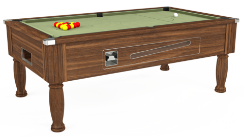 7ft Ascot Coin Operated in Dark Walnut with Hainsworth Smart Sage cloth
