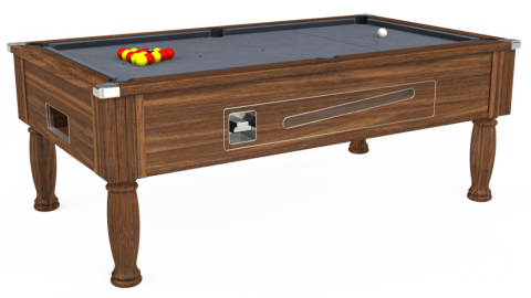 7ft Ascot Coin Operated in Dark Walnut with Hainsworth Smart Silver cloth