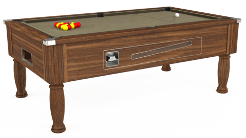 7ft Ascot Coin Operated in Dark Walnut with Hainsworth Smart Taupe cloth